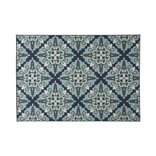Herrin Floral Blue/Green Indoor/Outdoor Area Rug