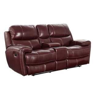 Red Barrel Studio Simeone Leather Reclining Loveseat with Console