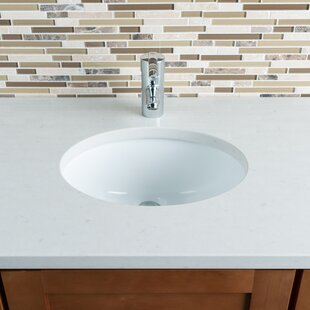 Read Reviews Ceramic Oval Undermount Bathroom Sink with Overflow By Hahn