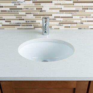 Deals Ceramic Oval Undermount Bathroom Sink with Overflow ByHahn