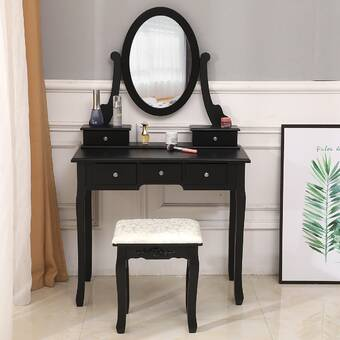 Everly Quinn Enid Vanity Set With Stool And Mirror Reviews Wayfair