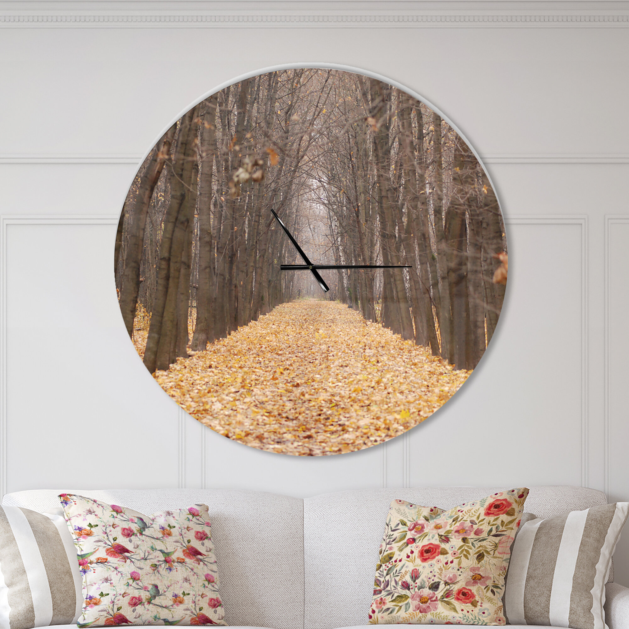East Urban Home Oversized Farmhouse Designart Road Through Fall Forest Traditional Wall Clock Wayfair