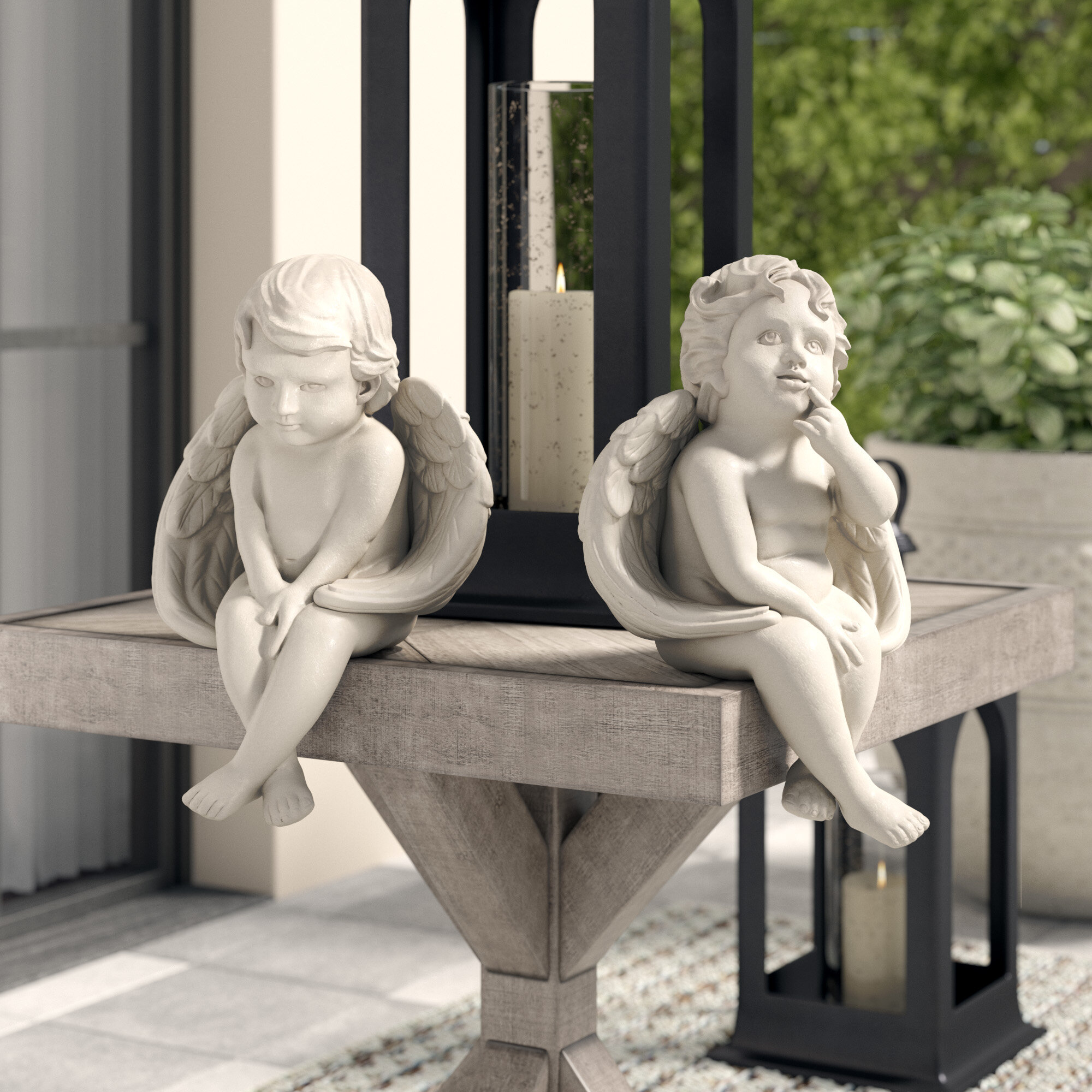 Greyleigh Abilene Angels Of Meditation And Contemplation 2 Piece Statue Set Reviews Wayfair