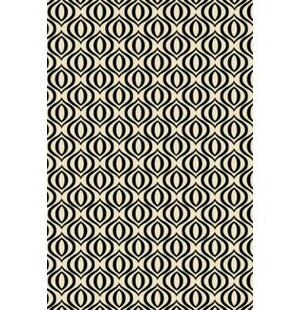 Jamie Elegant Cross Design Black/White Indoor/Outdoor Area Rug