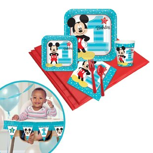 Mickey Mouse 1st Birthday Disposable Tableware and High Chair Kit