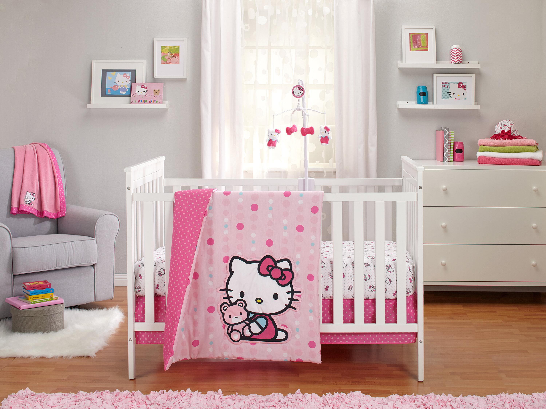 Hello Kitty Cute As A On 3 Piece Crib Bedding Set Reviews Wayfair