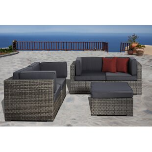 Beachcrest Home Bogazi 5 Piece Sunbrella Sectional Set with Cushions