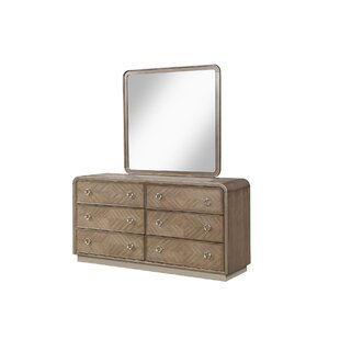 Inexpensive Waterfall 6 Drawer Double Dresser with Mirror by Fairfax Home Collections