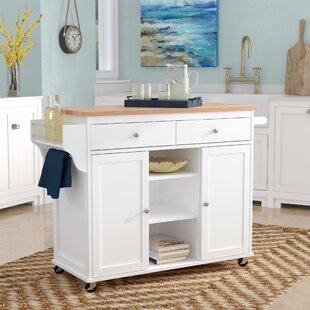 Wilson Modern Kitchen Island with Wood Top Beachcrest Home