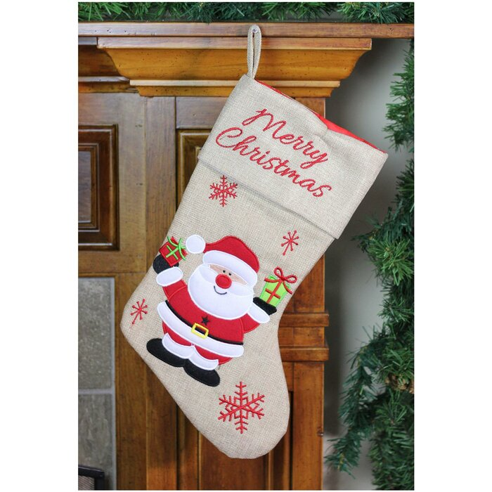 Embroidered Christmas Stockings.Burlap Merry Christmas Santa Claus Embroidered Christmas Stocking
