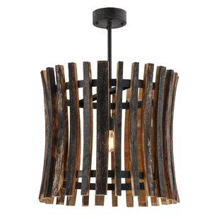 Meyda Tiffany Greenbriar Oak 1-Light Drum Pendant
