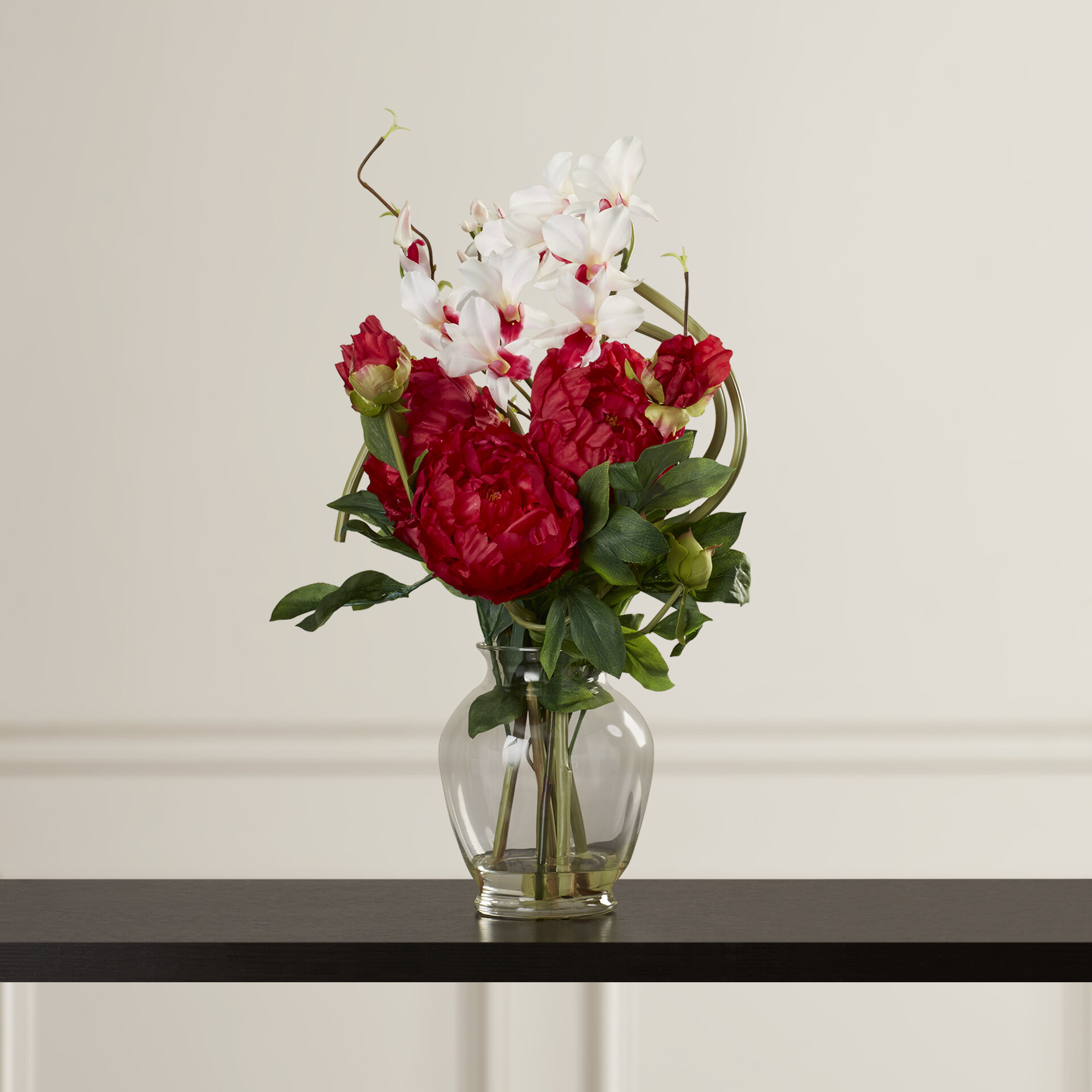 Alcott hill peony and orchid silk flower arrangement in vase alcott hill peony and orchid silk flower arrangement in vase reviews wayfair reviewsmspy