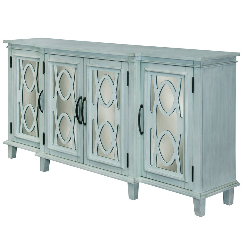 Montiel 4 Door Breakfront Mirrored Media Sideboard