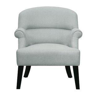Highland Dunes Vennie Oak Upholstered Roll Armchair