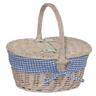 Lidded Basket With Check Lining By Brambly Cottage