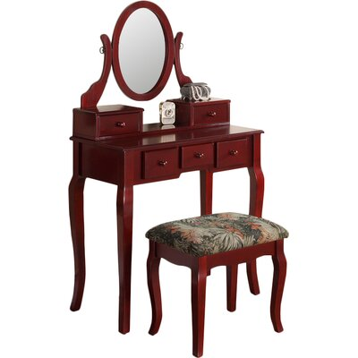 Zeke Wood Makeup Vanity Set with Mirror Color: Cherry by Beachcrest Home