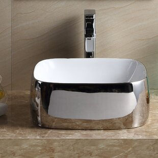Fine Fixtures Modern Vitreous China Square Vessel Bathroom Sink