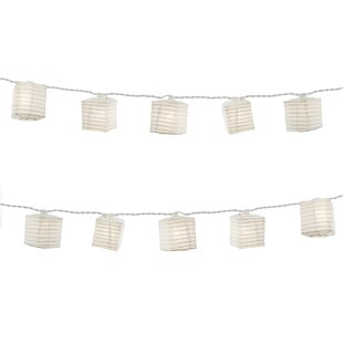 LumaBase Electric 10 String Light with Square Nylon Lanterns (Set of 10)