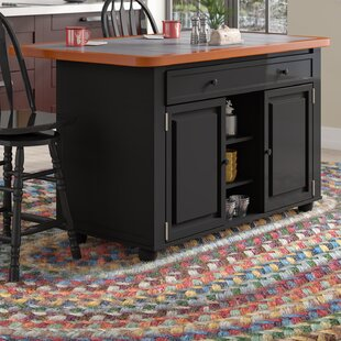 Lockwood Kitchen Island with Ceramic Tile Top and Stools by Loon Peak
