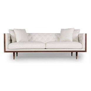 Woodrow Kardiel Standard Neo Classic Midcentury Leather Sofa