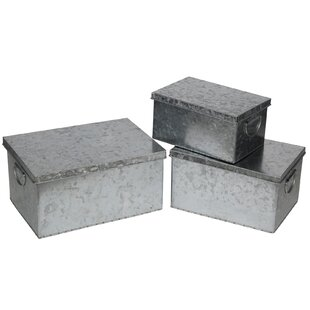 Best Reviews 3 Piece Galvanized Storage Box Set By August Grove