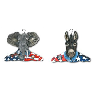 Price comparison Republican Elephant and Democratic Donkey Clothing Hangers (Set of 2) By Stupell Industries