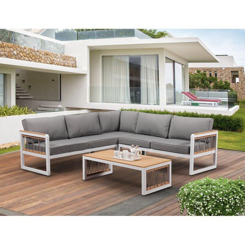Brayden Studio Hanalei Outdoor 4 Piece Sectional Seating ... on Outdoor 4 Piece Sectional id=47909