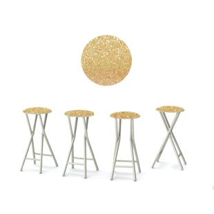 Glitter Me Gold 30'' Patio Bar Stool with Cushion (Set of 4)