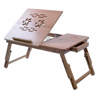 Bamboo Adjustable Tray Table with Tilting Top Drawer