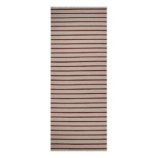 Donora Hand-Woven Wool Cream/Red Area Rug byGracie Oaks