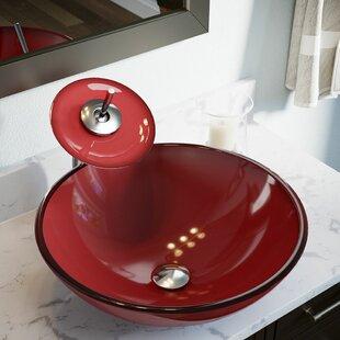 MR Direct Hand Painted Glass Circular Vessel Bathroom Sink