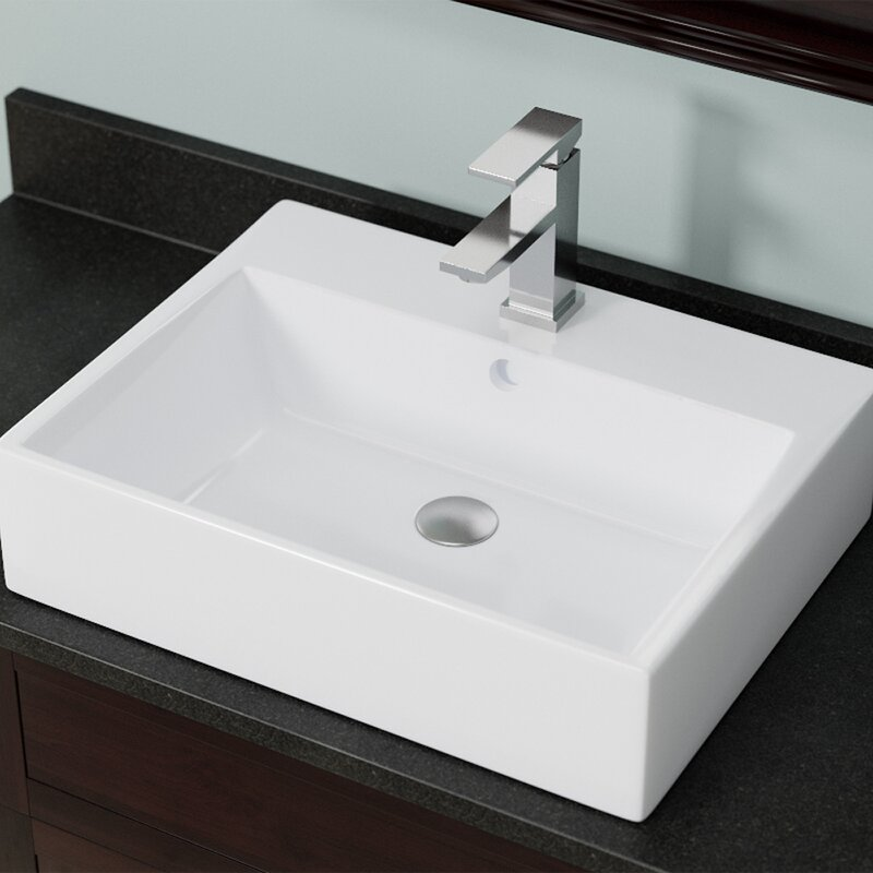 Mrdirect Vitreous China Rectangular Vessel Bathroom Sink With Overflow Reviews Wayfair