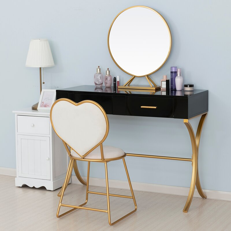 Mercer41 Barclay Vanity Set With Stool And Mirror Reviews Wayfair