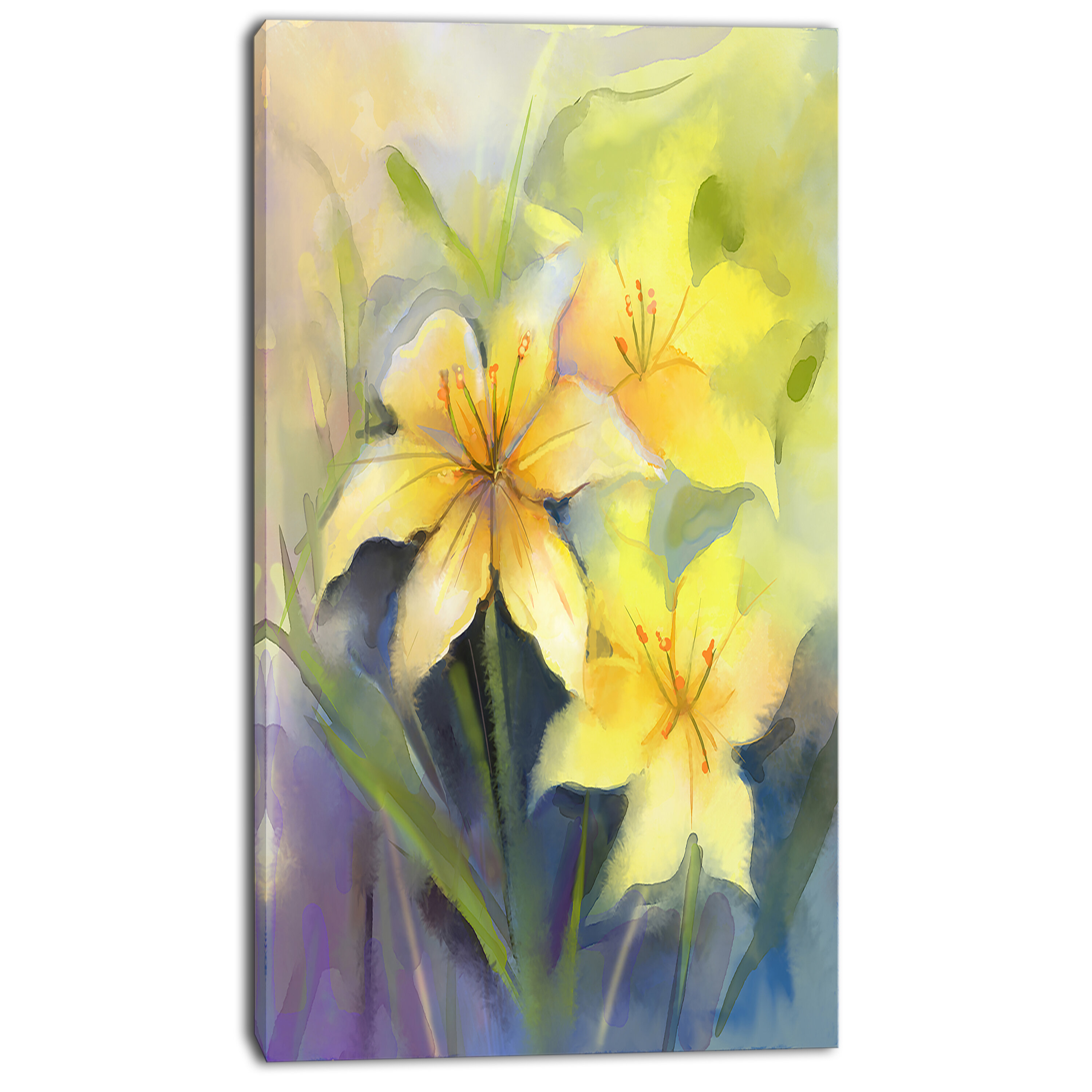 Designart Watercolor Painting Yellow Lily Flower Painting Print On Wrapped Canvas Wayfair
