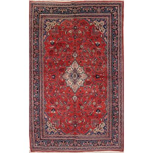 Read Reviews One-of-a-Kind Martinez Traditional Bidjar Persian Hand-Knotted 7' x 10'10 Wool Blue/Burgundy Area Rug By Isabelline