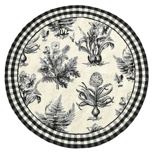Buying Floral Botanical Hook Black / White Area Rug By123 Creations