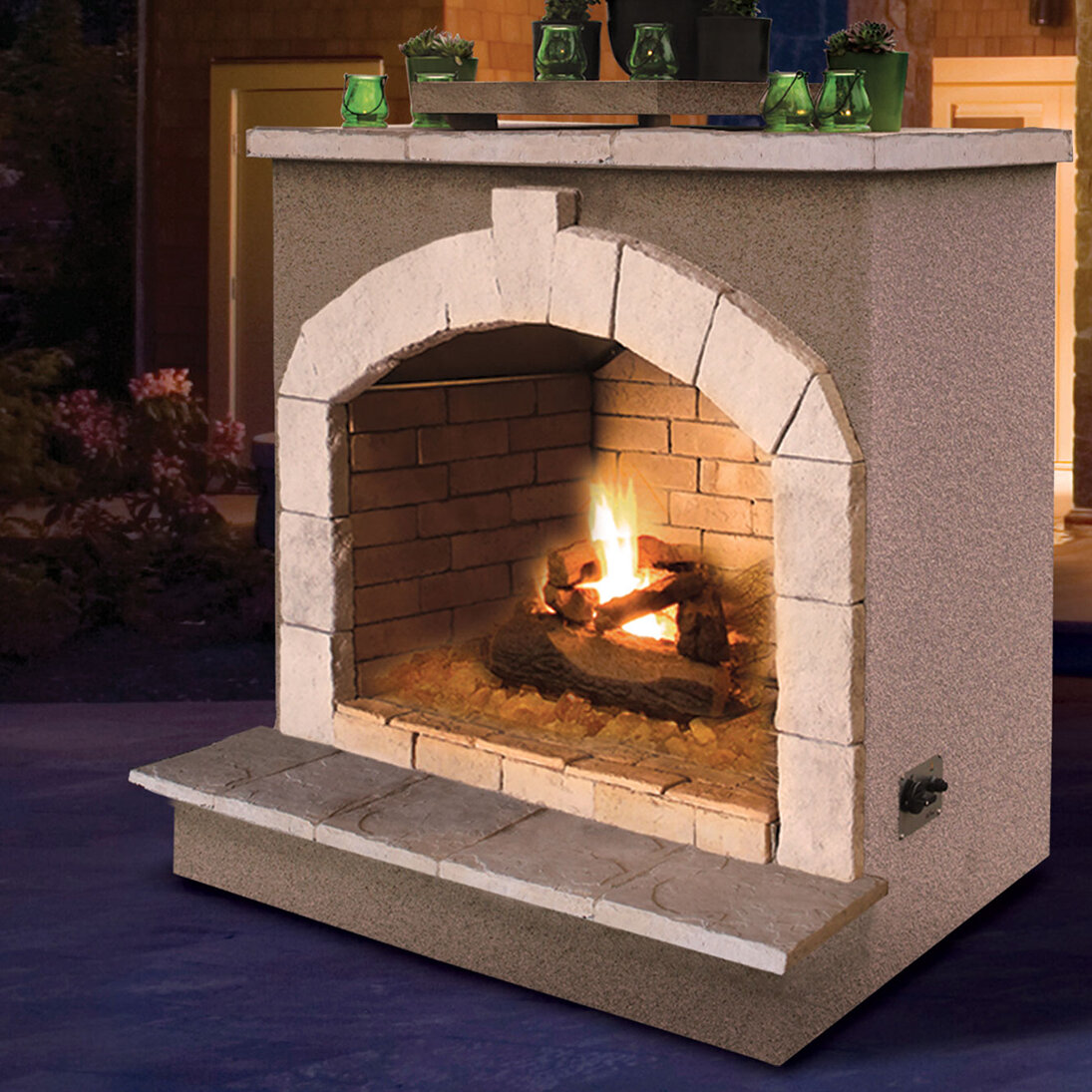 Cal Flame Porcelain Gas Outdoor Fireplace Wayfair