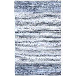 Clearance Phillips Modern Cotton Navy/White Striped Area Rug ByMack & Milo