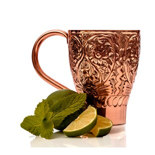 Mraz Flower Embossed Stainless Steel Mule Mug