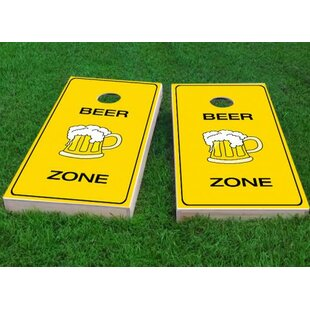 Custom Cornhole Boards Bright Yellow Beer Zone Cornhole Game (Set of 2)