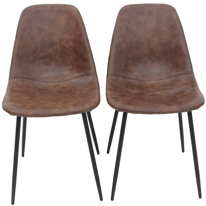 Swell Busey Vintage Faux Leather Side Chair With Black Steel Legs Unemploymentrelief Wooden Chair Designs For Living Room Unemploymentrelieforg