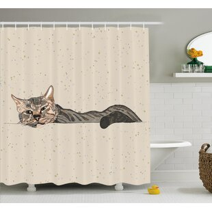 Animal Lazt Sleepy Cat Figure Single Shower Curtain