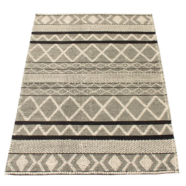 Foundry Select Mulvey Geometric Hand Braided Wool Black Area Rug Wayfair