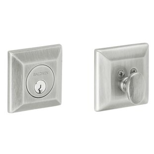Square Deadbolt with Single Cylinder in Distressed Oil Rubbed Bronze by Baldwin