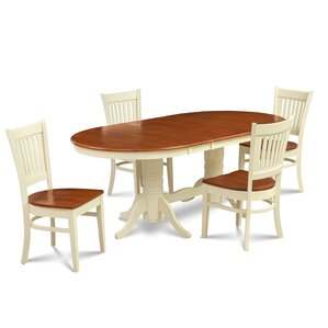 Lunde 5 Piece Solid Rubber Wood Dining..