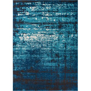 Coolidge Modern Distressed Navy Blue Area Rug