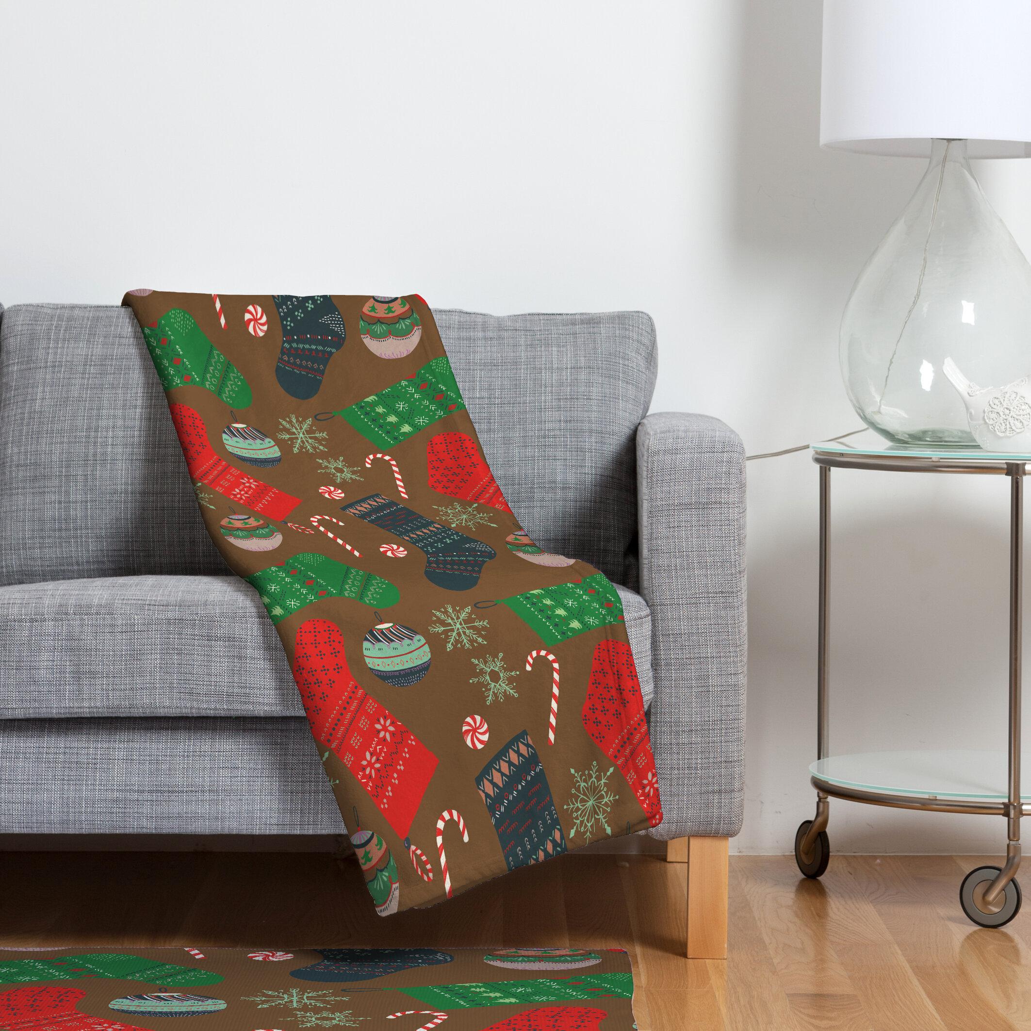 Christmas Fleece.Christmas Ornaments Fleece Polyester Throw Blanket