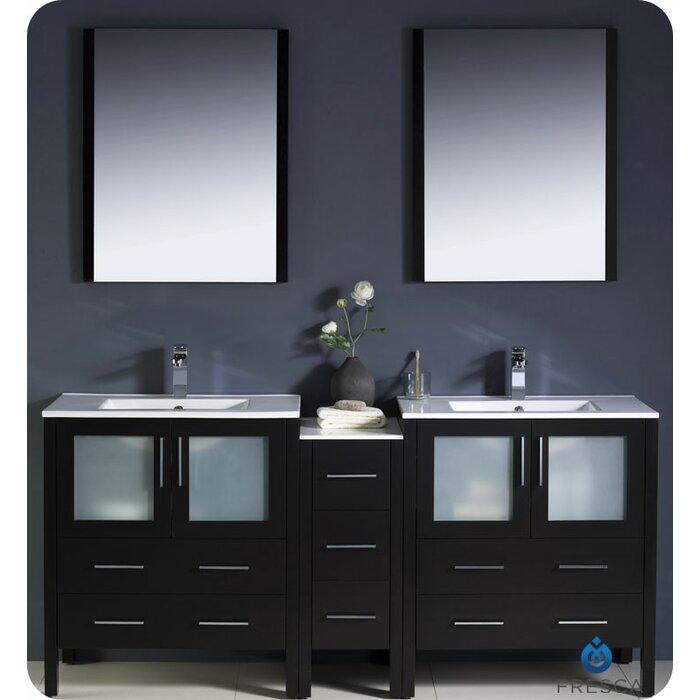 Torino 72 Double Bathroom Vanity Set With Mirror