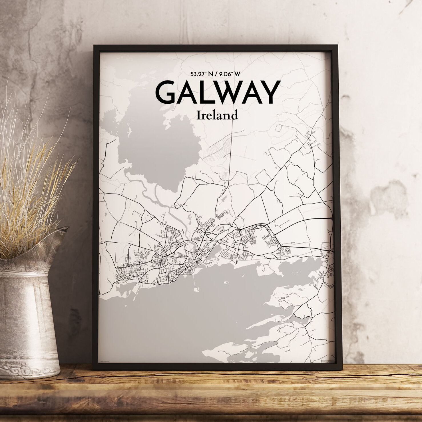 Wrought Studio Galway City Map Graphic Art Print Poster