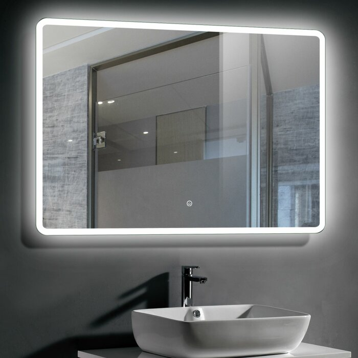 Led Lighted Bathroom Mirror Wall Mounted Vanity 40x28 In With Touch Switch Cool White Energy Efficient Illuminated